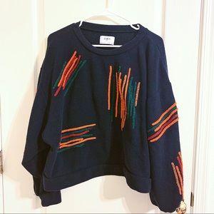 Zara sweater Large Navy Blue orange stripes